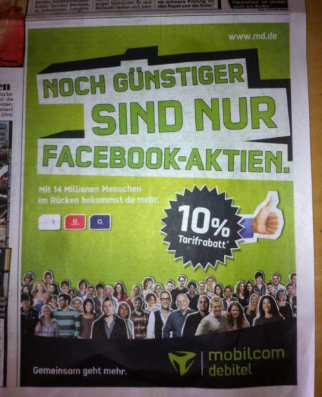 Mobilcom Facebook Aktien Werbung